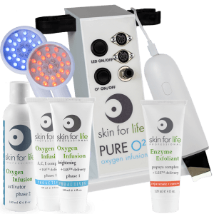 Pure O2 Portable Oxygen + Skin Scrubber + LED Light therapy + Professional Papaya Complex